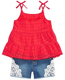 Epic Threads Big Girls Lace Top & Denim Shorts Separates, Created for Macy's