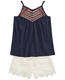 Epic Threads Big Girls Crochet-Detail Tank Top & Scalloped Lace Shorts Separates, Created for Macy's