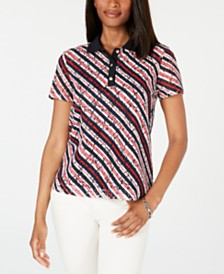 Tommy Hilfiger Perforated Asymmetric-Striped Polo Top, Created for Macy's