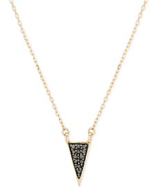 "Elsie May Black Diamond Accent Triangle Pendant Necklace in 14k Gold, 15"" + 1 "" extender"