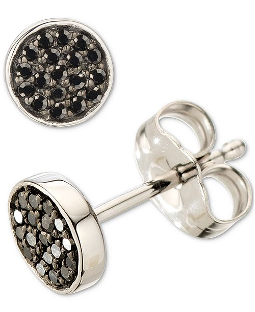 Elsie May Black Diamond Cluster Stud Earrings (1/10 ct. t.w.) in Sterling Silver