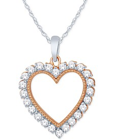 "Diamond Heart Pendant Necklace (1/2 ct. t.w.) in 14k White Gold & 14k Rose Gold, 16"" + 2"" Extender"