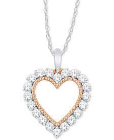 """Diamond Heart Pendant (1/4 ct. t.w.) in 14k White Gold & 14k Rose Gold, 16"""" + 2"""" Extender"""