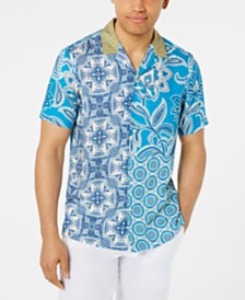 Tasso Elba Men's Paisley Medallion-Print Camp Collar Silk Shirt, Created for Macy's