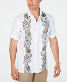 Tasso Elba Men's Pintucked Paisley Panel Linen Shirt, Created for Macy's