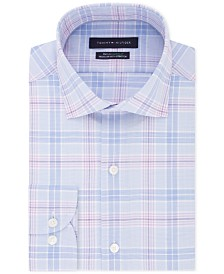 Tommy Hilfiger Men's Classic/Regular-Fit Flex Stretch Moisture-Wicking Non-Iron Check Dress Shirt