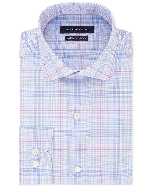 Men's ClassicRegular Fit Flex Stretch Moisture Wicking Non Iron Check Dress Shirt