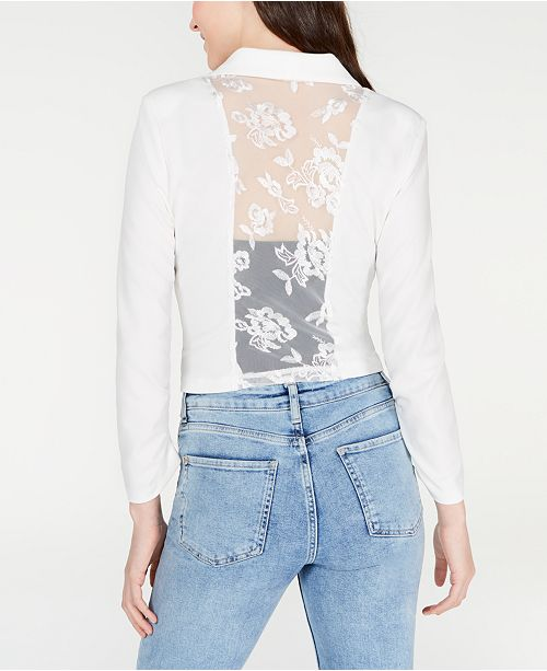 Material Girl Juniors' Lace-Back Jacket, Created for Macy's