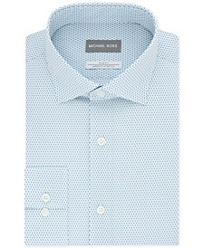 Michael Kors Men's Slim-Fit Airsoft Stretch Moisture-Wicking Non-Iron Neat-Print Dress Shirt