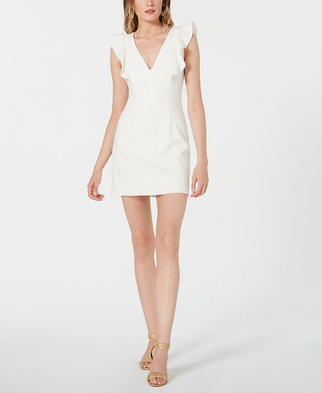 French Connection V-Neck Ruffle Whisper Dress