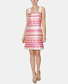 Flower-Strap Jacquard Dress