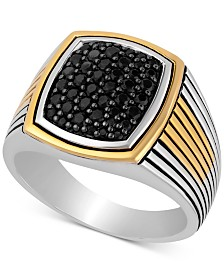 Men's Black Sapphire Ring (3/4 ct. t.w.) in Sterling Silver & 18k Gold-Plate
