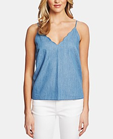 Cotton Scalloped-Neck Camisole Top