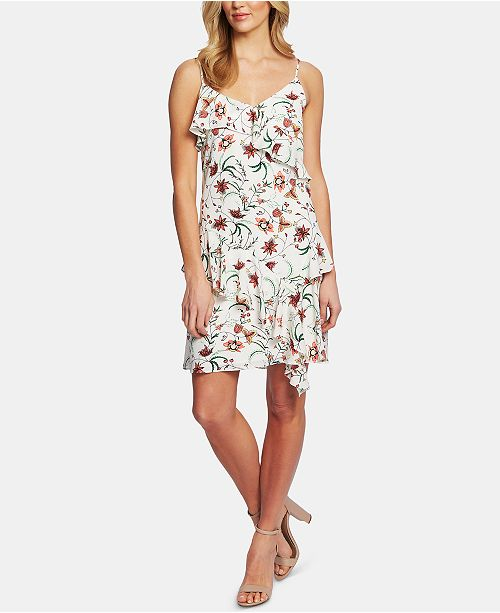 CeCe Ruffled Floral-Print Dress