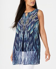 JM Collection Layered Chiffon Tunic Top, Created for Macy's