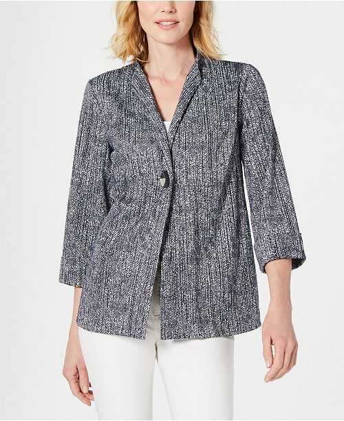 JM Collection Petite One-Button Textured Jacket, Created for Macy's