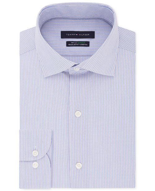 Tommy Hilfiger Men's Big & Tall Classic/Regular-Fit THFlex Stretch Non-Iron Stripe Dress Shirt
