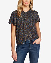 d0b1a3b9 CeCe Pintucked Floral-Print Top