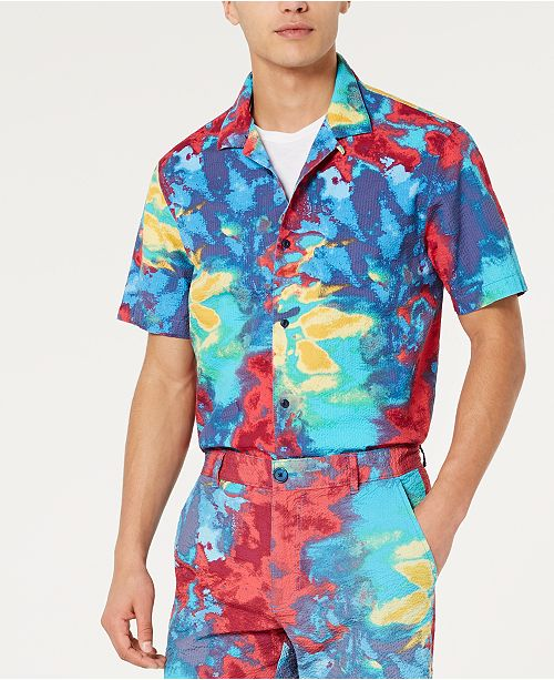 American Rag Men's Tie Dye Seersucker Camp Shirt, Created for Macy's