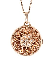 Elaine Photo Locket Necklace with Diamond Accent in 14k Rose Gold over Sterling Silver