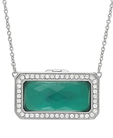 Lorraine Green Agate (20x10mm) and White Topaz (1/4 ct. t.w.) Photo Locket Necklace in Sterling Silver