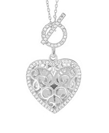 Clara Photo Toggle Locket Necklace with Swarovski Crystal in Sterling Silver
