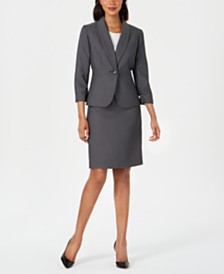 Le Suit Petite Shawl-Lapel Printed Skirt Suit