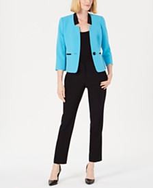 Le Suit Petite Star-Neck Pants Suit