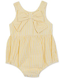 Baby Girls Striped Bow Bubble Bodysuit