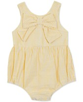 ece47ed704 Rare Editions Baby Girls Striped Bow Bubble Bodysuit