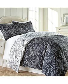 Winter Brush Reversible Floral Duvet and Sham Set, Full/Queen
