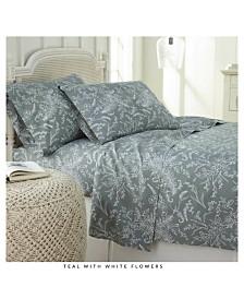Southshore Fine Linens Winter Brush Floral Printed 4 Piece Sheet Set, King
