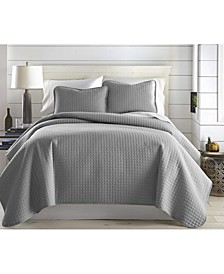 Oversized Solid 3 Piece Quilt and Sham Set, Full/Queen