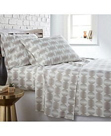 Modern Sphere Printed 4 Piece Sheet Set, Queen
