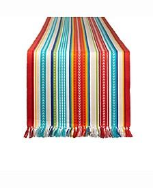 """Baja Stripe Fringed Table Runner 13"""" X 72"""""""