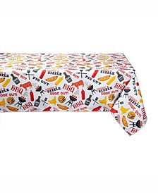"""BBQ Fun Print Outdoor Table cloth with Zipper 60"""" X 84"""""""
