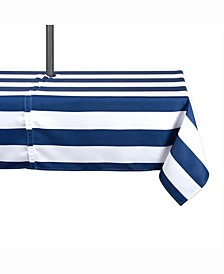 "Nautical Blue Cabana Stripe Outdoor Table cloth with Zipper 60"" X 120"""