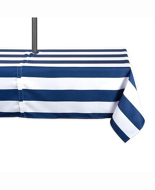 "Design Import Nautical Blue Cabana Stripe Outdoor Table cloth with Zipper 60"" X 120"""