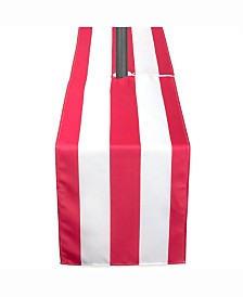 "Coral Cabana Stripe Outdoor Table Runner with Zipper 14"" X 108"""