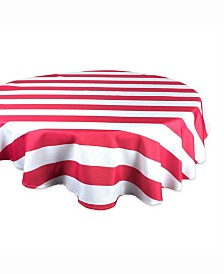 "Coral Cabana Stripe Outdoor Table cloth 60"" Round"