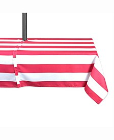 "Coral Cabana Stripe Outdoor Table cloth with Zipper 60"" X 120"""