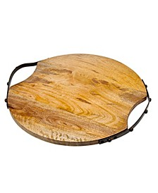 Round Wood Handeled Tray Large