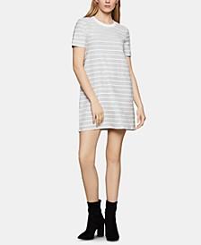 Scalloped-Striped T-Shirt Dress