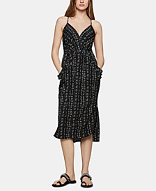 Printed Surplice Midi Dress