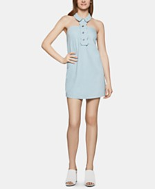 BCBGeneration Cotton Denim Halter Dress