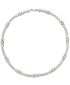 14k Gold and Sterling Silver Necklace, Diamond Accent Cable Necklace