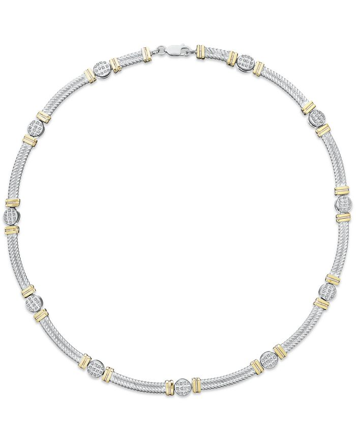 Macy's - 14k Gold and Sterling Silver Necklace, Diamond Accent Cable Necklace