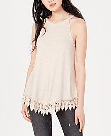 Juniors' Rib-Knit Crochet Tunic Tank Top