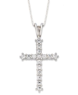 necklace edwardian diamond platinum cross chains circa