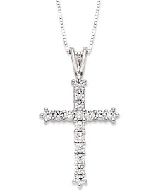 Diamond Cross Pendant Necklace in 14k White Gold (1/2 ct. t.w.)